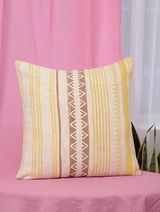 Tribal Yellow and Brown Handblock Printed Cotton Cushion Cover (18in x 18in)