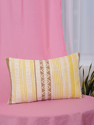 Tribal Yellow and Brown Handblock Printed Cotton Cushion Cover (13in x 20.5in)