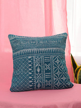 Blue Handblock Printed Cotton Cushion Cover (16in x 16in)