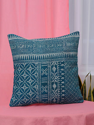 Blue Handblock Printed Cotton Cushion Cover (18in x 18in)
