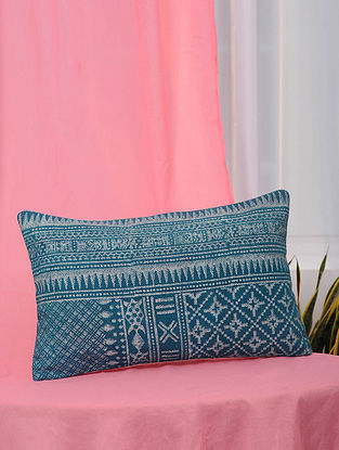 Blue Handblock Printed Cotton Cushion Cover (13.5in x 21in)