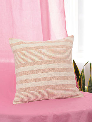Peach Handwoven Cotton Cushion Cover (16.5in x 16in)