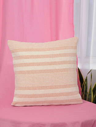 Peach Handwoven Cotton Cushion Cover (18in x 18in)