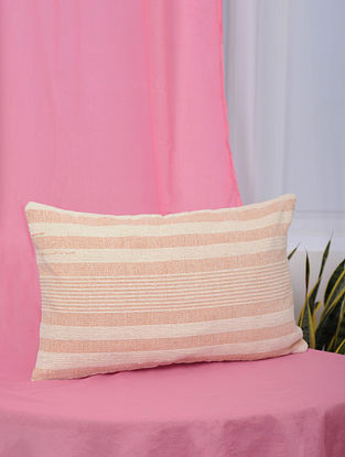 Peach Handwoven Cotton Cushion Cover (13.5in x 21)