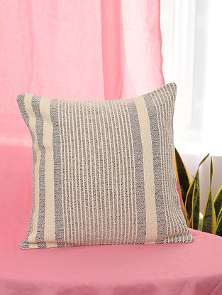 Grey and Beige Handwoven Cotton Cushion Cover (16in x 16in)