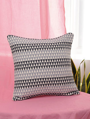Kaleidoscope Black and Grey Handmade Cotton Cushion Cover (16in x 16in)