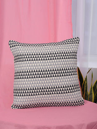 Kaleidoscope Black and Grey Handmade Cotton Cushion Cover (18in x 17.5in)