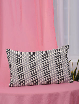 Kaleidoscope Black and Grey Handmade Cotton Cushion Cover (13in x 21in)