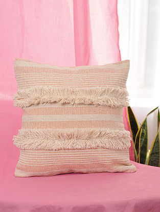 Pile-Patta Peach Handwoven Cotton Cushion Cover (16in x 16in)