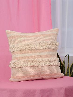 Pile-Patta Peach Handwoven Cotton Cushion Cover (17.5in x 17.5in)