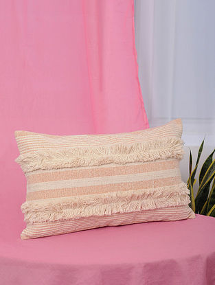 Pile-Patta Peach Handwoven Cotton Cushion Cover (13in x 20.5in)