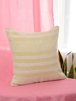 Pile-Patta Yellow and White Handwoven Cotton Cushion Cover (16in x 16in)