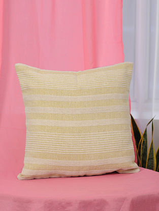 Pile-Patta Yellow and White Handwoven Cotton Cushion Cover (18 in x 18in)