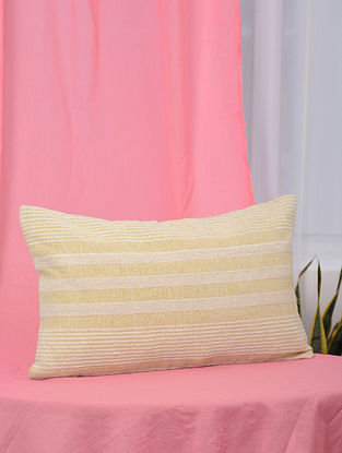 Pile-Patta Yellow and White Handwoven Cotton Cushion Cover (13.5in x 21in)