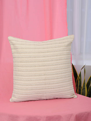 Beige Handmade Jaquard Cushion Cover (16in x 16in)