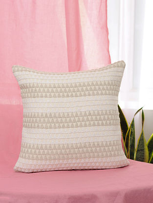 Kaleidoscope White and Beige Handmade Jaquard Cushion Cover (16in x 16in)