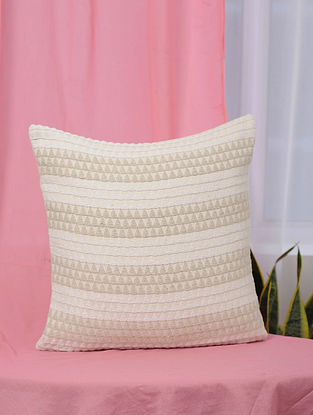 Kaleidoscope White and Beige Handmade Jaquard Cushion Cover (18in x 18in)