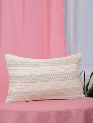 Kaleidoscope White and Beige Handmade Jaquard Cushion Cover (13in x 21in)