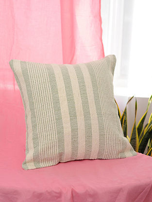 Hara-Patta Green and White Handwoven Cotton Cushion Cover (16.5in x 16.5in)