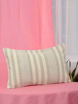 Hara-Patta Green and White Handwoven Cotton Cushion Cover (13in x 21in)