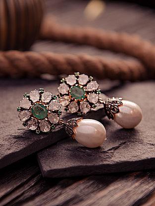 Emerald, Pearl and Polki Diamond Silver Earrings