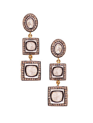 Polki Diamond Silver Earrings