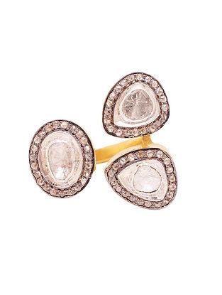 Polki Diamond Silver Adjustable Ring