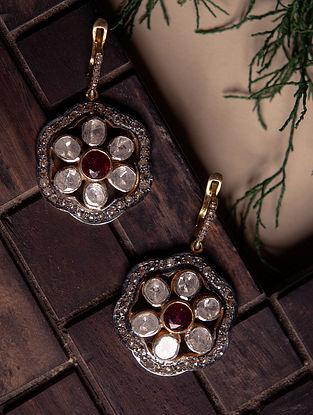 Ruby and Polki Diamond Silver Earrings