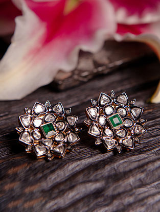 Emerald and Polki Diamond Silver Earrings