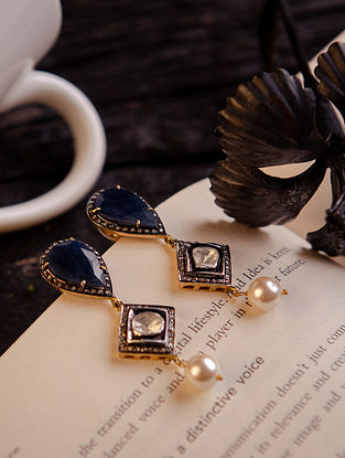 Sapphire, Pearl and Polki Diamond Silver Earrings