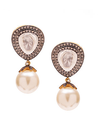 Pearl and Polki Diamond Silver Earrings