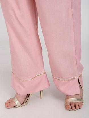 Pink Rayon Palazzos with Gota Work