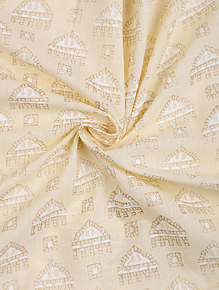 Beige Khari Printed Cotton Fabric