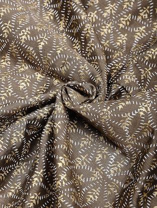 Brown-Ivory Khari Block Printed Chanderi Fabric
