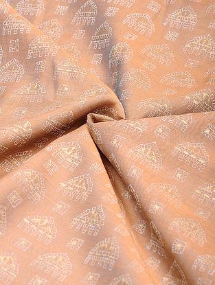 Peach-Ivory Khari Block Printed Chanderi Fabric