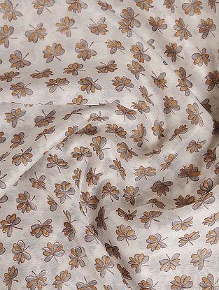 Grey-Brown Block Printed Chanderi Fabric