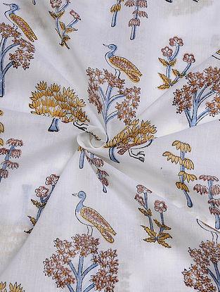 White-Beige Hand Block  Printed Cotton Cambric Fabric