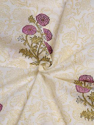 White-Purple Hand Block  Printed Cotton Cambric Fabric