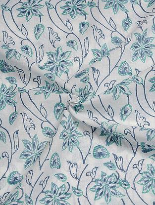 White-Blue Hand Block  Printed Cotton Cambric Fabric