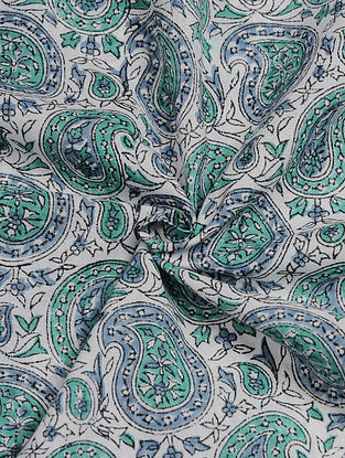 White-Green Hand Block  Printed Cotton Cambric Fabric
