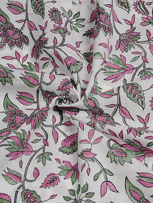 White-Pink Hand Block  Printed Cotton Cambric Fabric