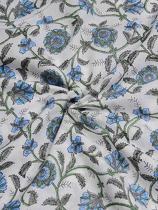 White-Grey Hand Block  Printed Cotton Cambric Fabric