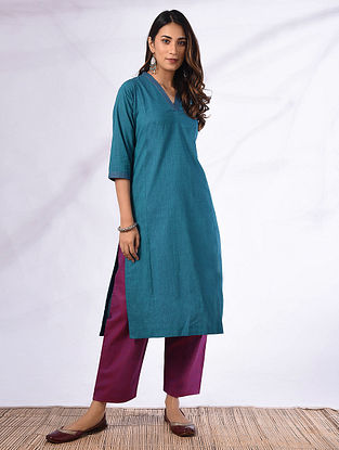 SUVALI - Blue Cotton Kurta with Pockets