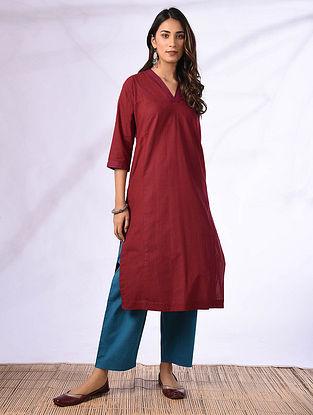 MALAHA - Red Cotton Kurta with Pockets