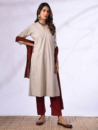 ANITHA - Beige Cotton Kurta with Pockets
