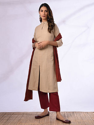 ANUSHKA - Beige Cotton Kurta with Pockets