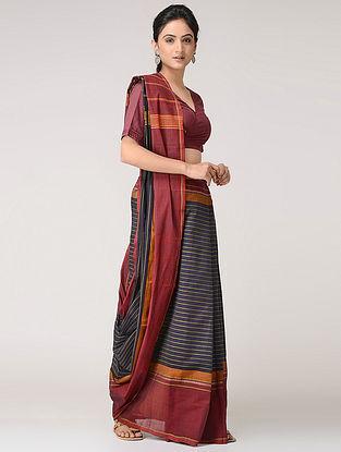 Black-Maroon Chettinad Cotton Saree with Kalamkari-printed Blouse Fabric