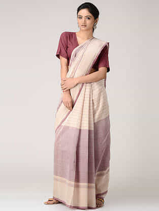 Ivory-Pink Cotton Saree