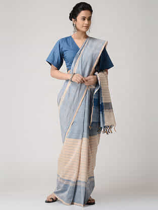 Ivory-Blue Cotton Saree