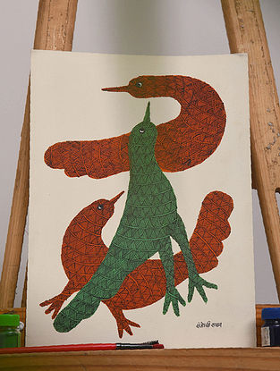 Multicolor Handmade Gond Painting on Paper (14in x 10in)